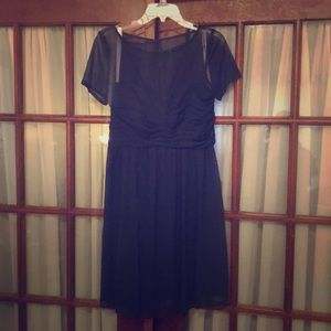 Tee-length, navy, dress